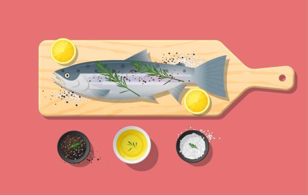bildbanksillustrationer, clip art samt tecknat material och ikoner med färsk rå lax fisk och kryddor på trä skärbräda, matlagning, vektor, illustration - omega 3