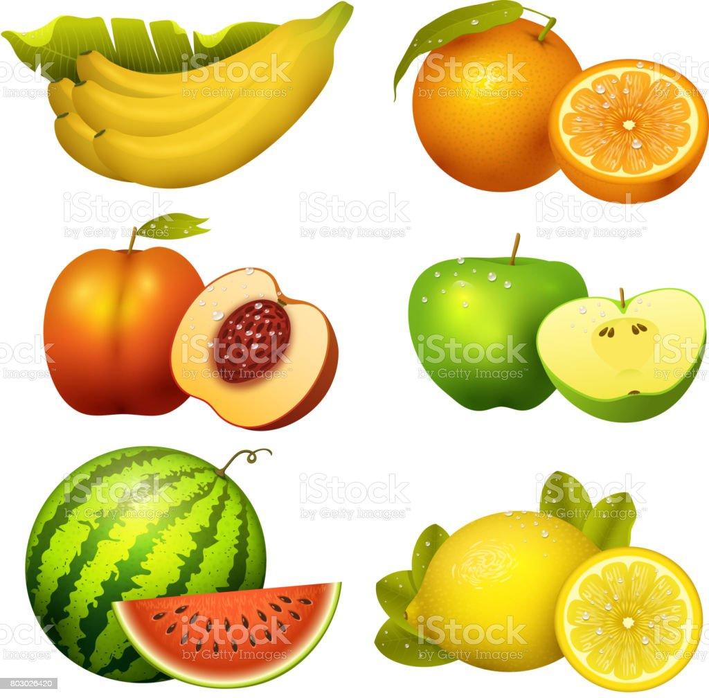 Fresh realistic juicy fruits slice vector illustration 3d organic vegetarian isolated greengrocery fruit vector art illustration