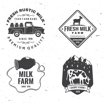 Fresh rustic milk badge, logo. Vector. Typography design with cow, milk farm, truck silhouette. Template for dairy and milk farm business - shop, market, packaging and menu