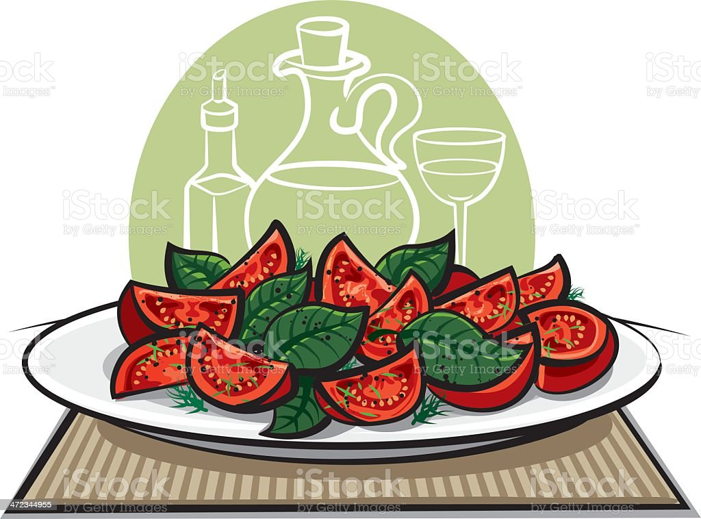 fresh salad with tomatoes vector art illustration