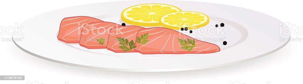 Fresh Salmon and Lemon vector art illustration