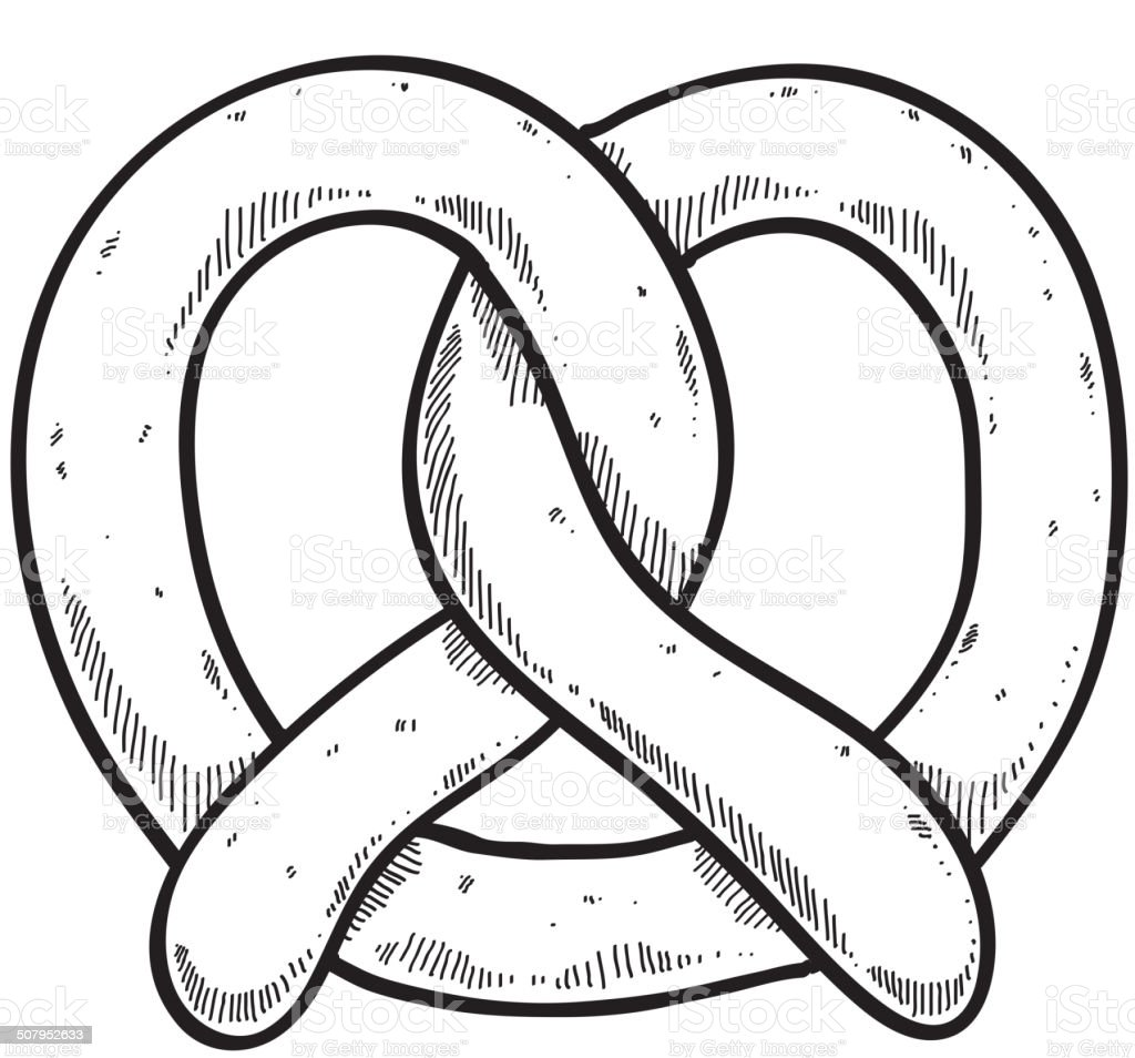 Fresh salty pretzel in sketch style. Good for Octoberfest design. vector art illustration