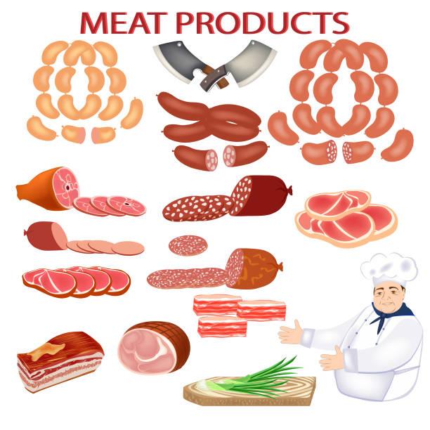 frische würste und koch. vektor-fleischprodukte. wurst, schinken, speck. niedliche koch lächelnd. illustration für fleischerei oder fleischmarkt. - roastbeef stock-grafiken, -clipart, -cartoons und -symbole