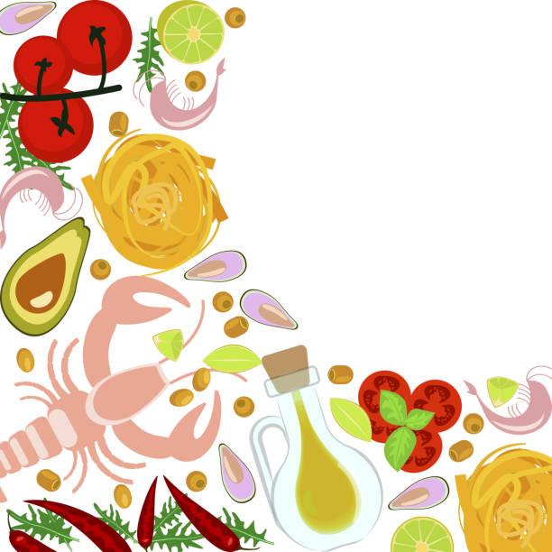 ilustrações de stock, clip art, desenhos animados e ícones de fresh seafood flat design - mediterranean food