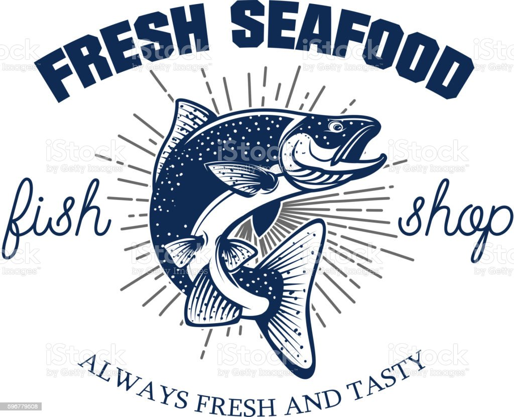 Fresh seafood. Seafood store emblem template. vector art illustration