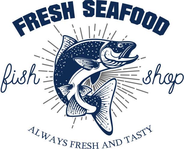 illustrazioni stock, clip art, cartoni animati e icone di tendenza di fresh seafood. seafood store emblem template. - trout