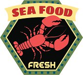 Vector fresh seafood travel sticker or luggage label.