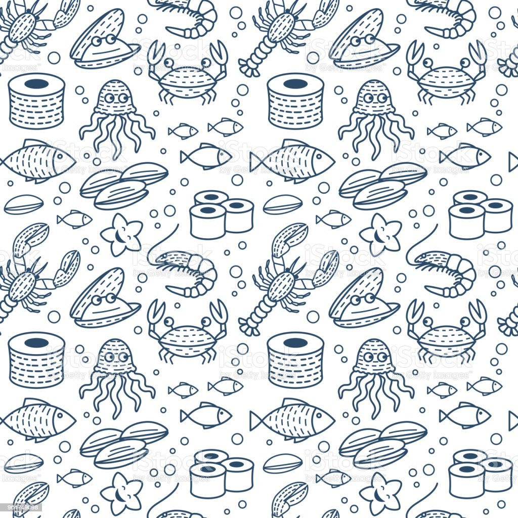 Fresh Seafood Vector Seamless Pattern royalty-free fresh seafood vector seamless pattern stock vector art & more images of backgrounds