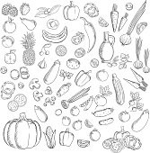 Fresh sketched fruits and vegetables icon