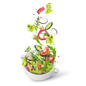 Fresh summer salad of greens and vegetables sprinkled in a deep plate. Flying salad recipe. Vector 3d realistic illustration isolated on white background