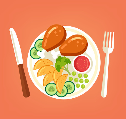 Fresh tasty grilled roasted chicken turkey legs with vegetables sliced potato cucumber broccoli and red sauce on plate. Cooking meat dish culinary top view concept. Vector flat graphic design cartoon illustration