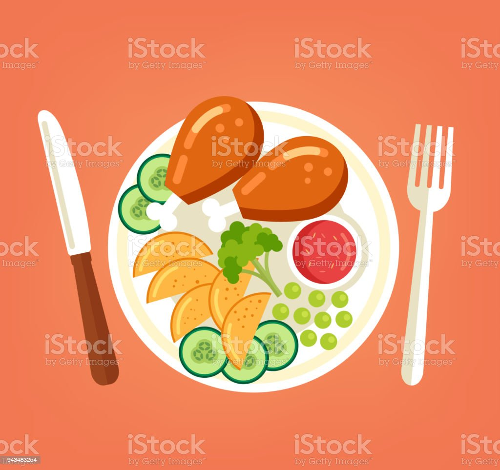 新鮮なおいしい焼き鶏のロースト七面鳥の足野菜ジャガイモ キュウリ ブロッコリーと赤のソースを皿にスライスします。料理肉料理料理トップ ビューの概念です。ベクトル グラフィック フラット デザイン漫画イラスト ベクターアートイラスト