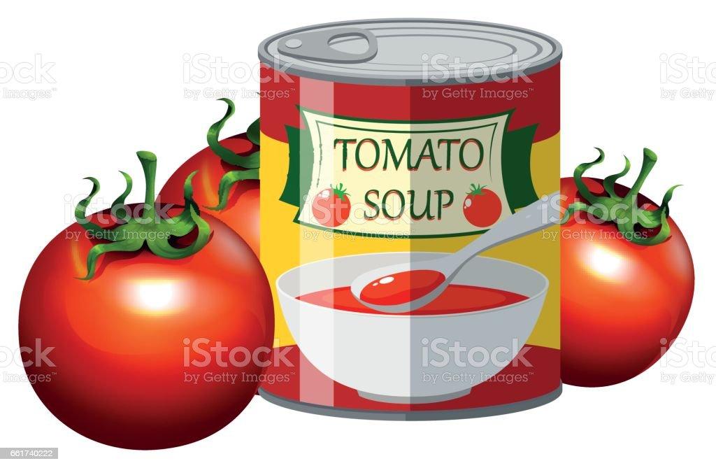 Frischen Tomaten Und Tomatensuppe In Dose Stock Vektor Art Und Mehr