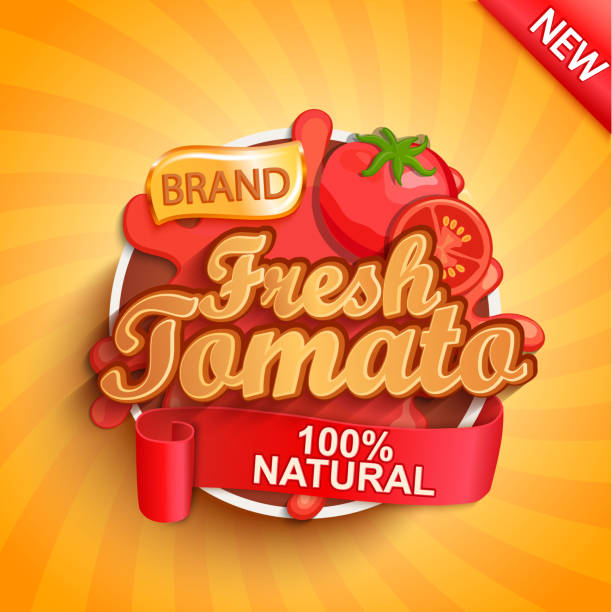 Fresh tomato logo, label or sticker. Fresh tomato logo, label or sticker on sunburst background. Natural, organic food, drink or sauce.Concept for farmers market, shops, packing and packages, advertising design.Vector illustration. tomato sauce stock illustrations