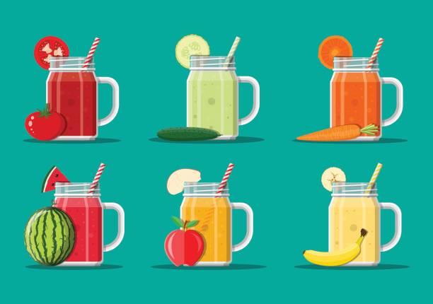 bildbanksillustrationer, clip art samt tecknat material och ikoner med färska grönsaker och frukt saft set. - smoothie