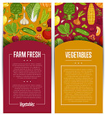 Fresh vegetable farming flyers set vector illustration. Locally grown vegetable, vegan retail, natural product. Healthy farm food advertising with pumpkin, beans, onion, peas, tomato, radish, carrot