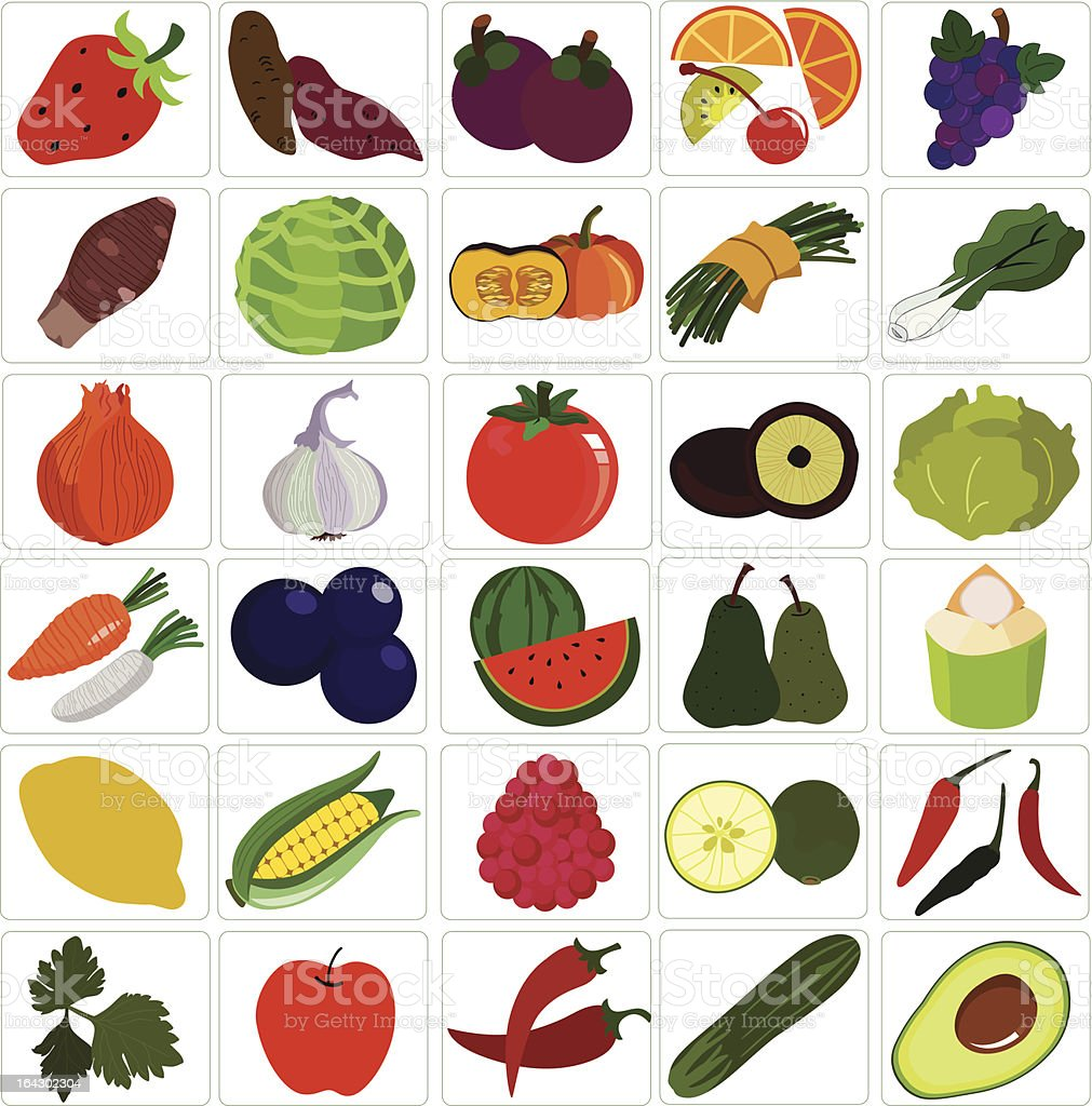 Fresh Vegetable, fruit (Icons) vector Set #2 royalty-free fresh vegetable fruit vector set 2 stock vector art & more images of apple - fruit