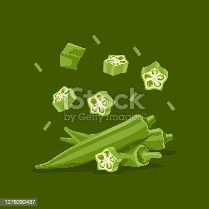 istock Fresh vegetable Ladies finger or Okra falling vector in green background 1278292437