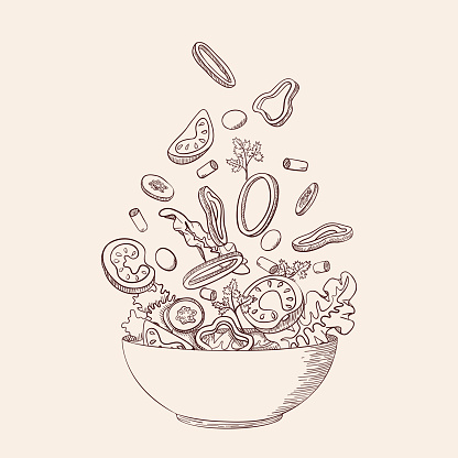 Fresh vegetable salad in sketch line style. Concept cooking organic healthy vegan, vegetarian, dietary, vitamin dish with farm products. Tomato, cucumber, bell pepper. Vector illustration