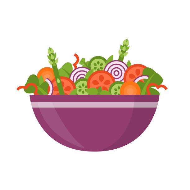 Fresh vegetable salad Bowl of fresh vegetable salad, healthy food. Flat style. Vector illustration isolated on white background. salad bowl stock illustrations