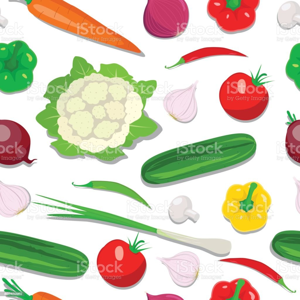 Fresh Vegetable Seamless Design Fresh Vegetable Seamless Design in this file flat color and gradiation color used,clipping mask yes, this file isolated on white background, all elements separate grouped and easy to edit for similar images visit my portfolio Carrot stock vector