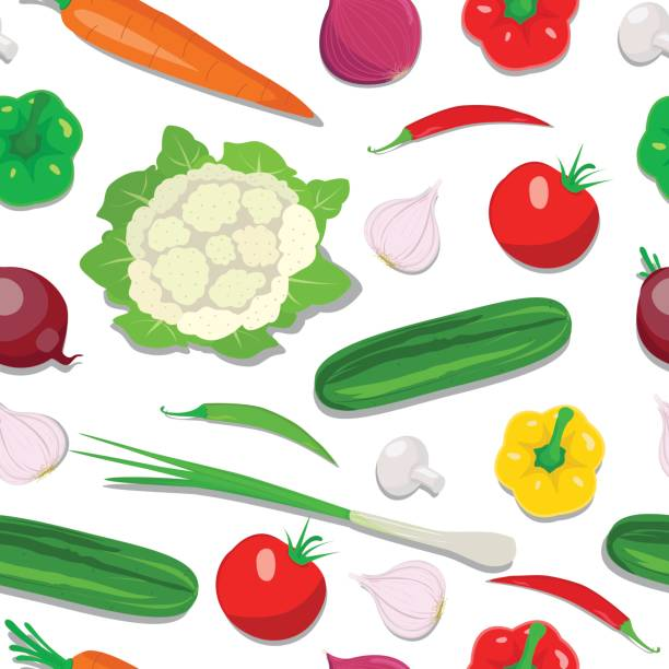 Fresh Vegetable Seamless Design Fresh Vegetable Seamless Design in this file flat color and gradiation color used,clipping mask yes, this file isolated on white background, all elements separate grouped and easy to edit for similar images visit my portfolio scallion stock illustrations