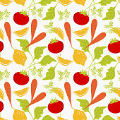 Fresh vegetable seamless pattern. Fresh carrots with green leaves, lemone and tomato.