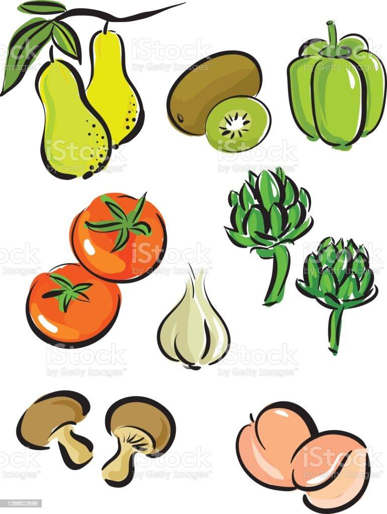 fresh vegetable set vector art illustration
