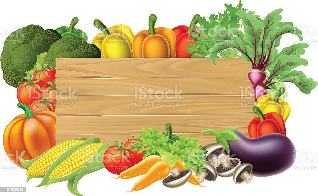 Fresh Vegetable Sign vector art illustration
