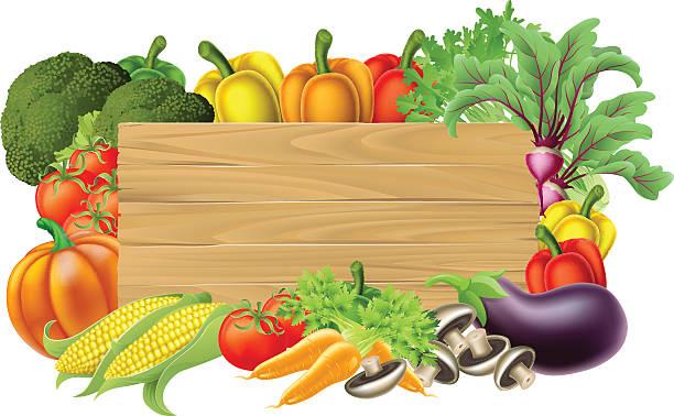 ilustrações, clipart, desenhos animados e ícones de placa de legumes frescos - horta