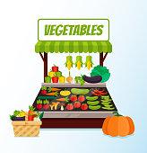 Fresh vegetable street store market full of fresh vegetables. Vector flat cartoon graphic design isolated