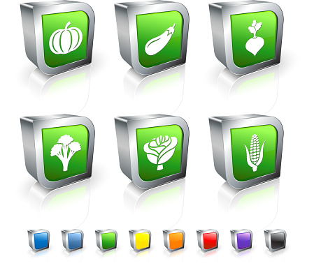 fresh vegetables 3D vector icon set with Metal Rim