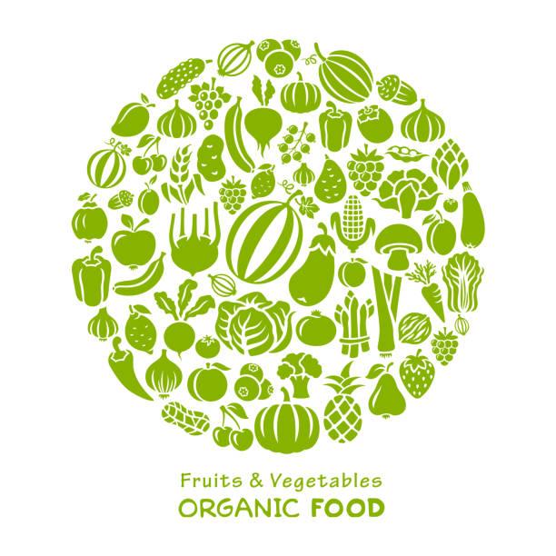 Fresh Vegetables and Fruits Collage vector art illustration
