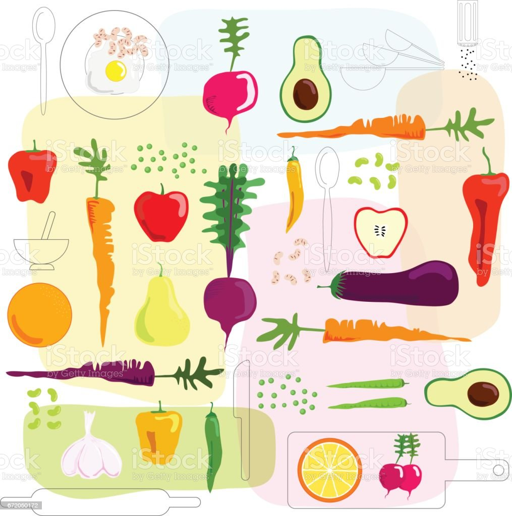 fresh vegetables and fruits illustrated background stock vector