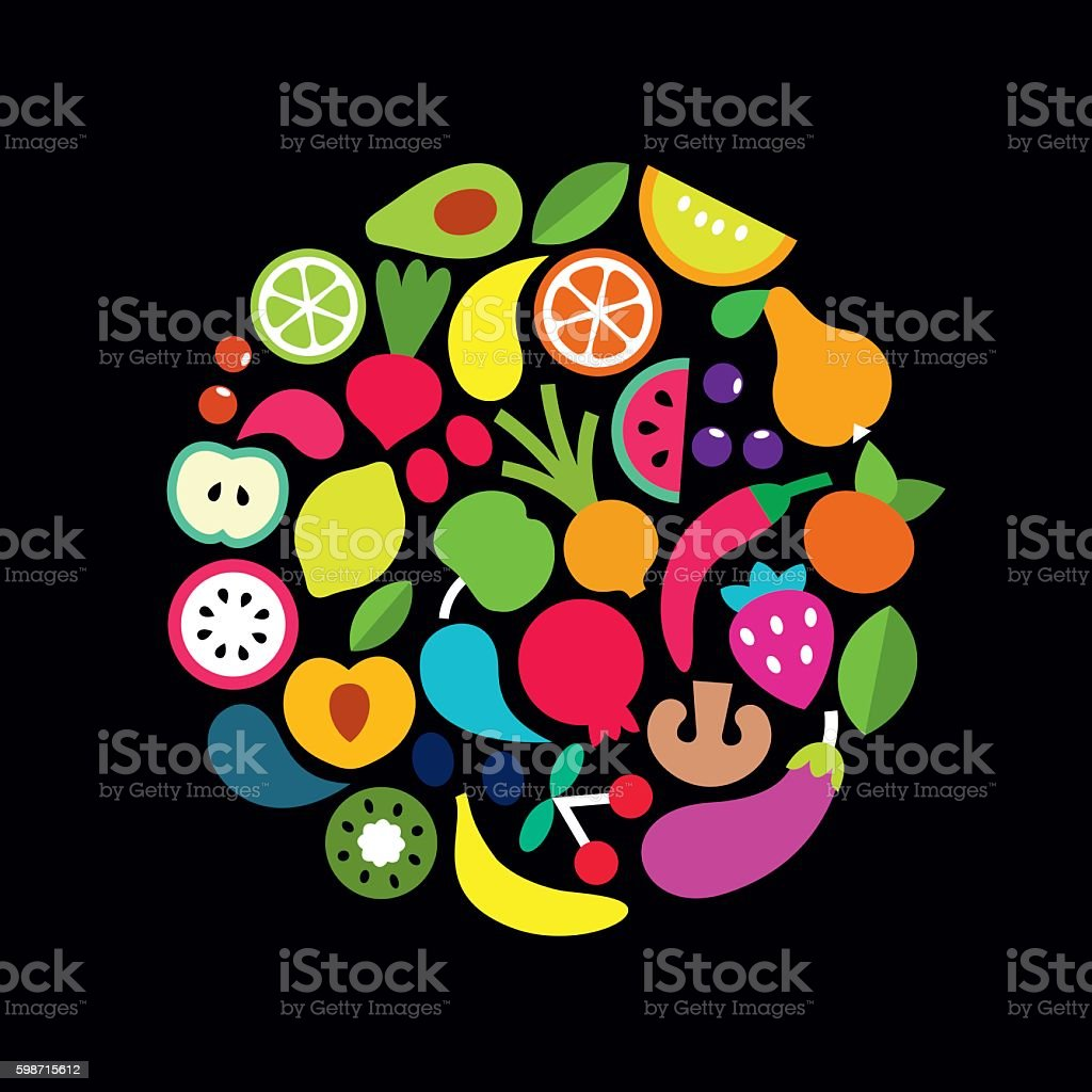 Fresh vegetables and fruits vector art illustration