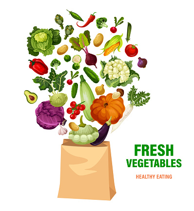 Fresh vegetables and shopping bag, healthy eating
