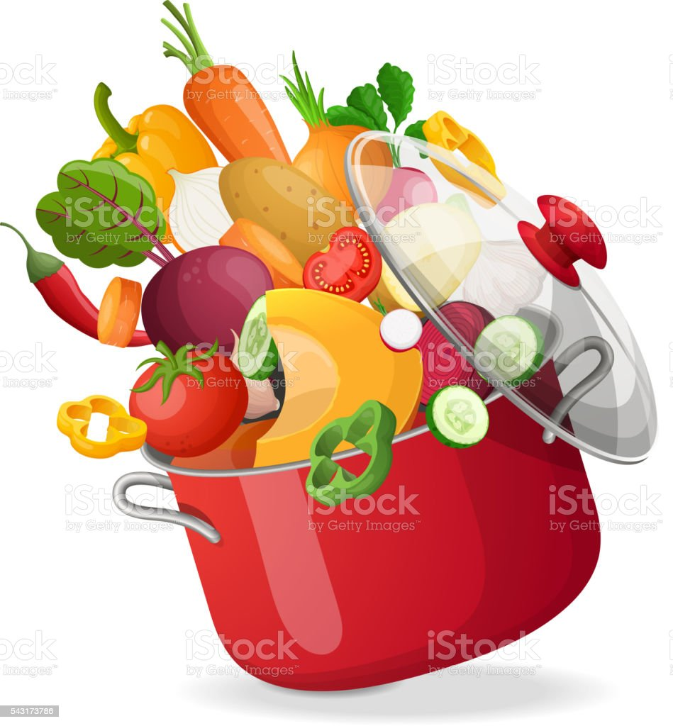 Fresh vegetables flying in a pot on an isolated white vector art illustration