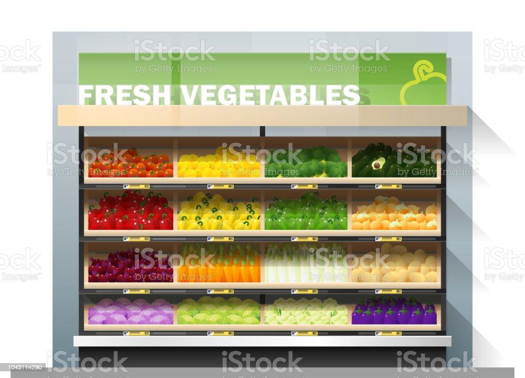 Fresh vegetables for sale display on shelf in supermarket , vector , illustration Fresh vegetables for sale display on shelf in supermarket , vector , illustration Avocado stock vector