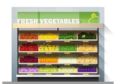 Fresh Vegetables For Sale Display On Shelf In Supermarket Vector Illustration Stock Illustration - Download Image Now