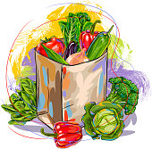 Fresh Vegetables in paper bag, all elemnts are in seperate layers and grouped. Please visit my portfolio for more options.
