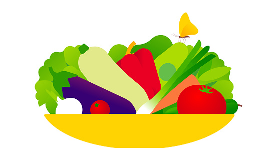 Fresh vegetables on flat plate.
