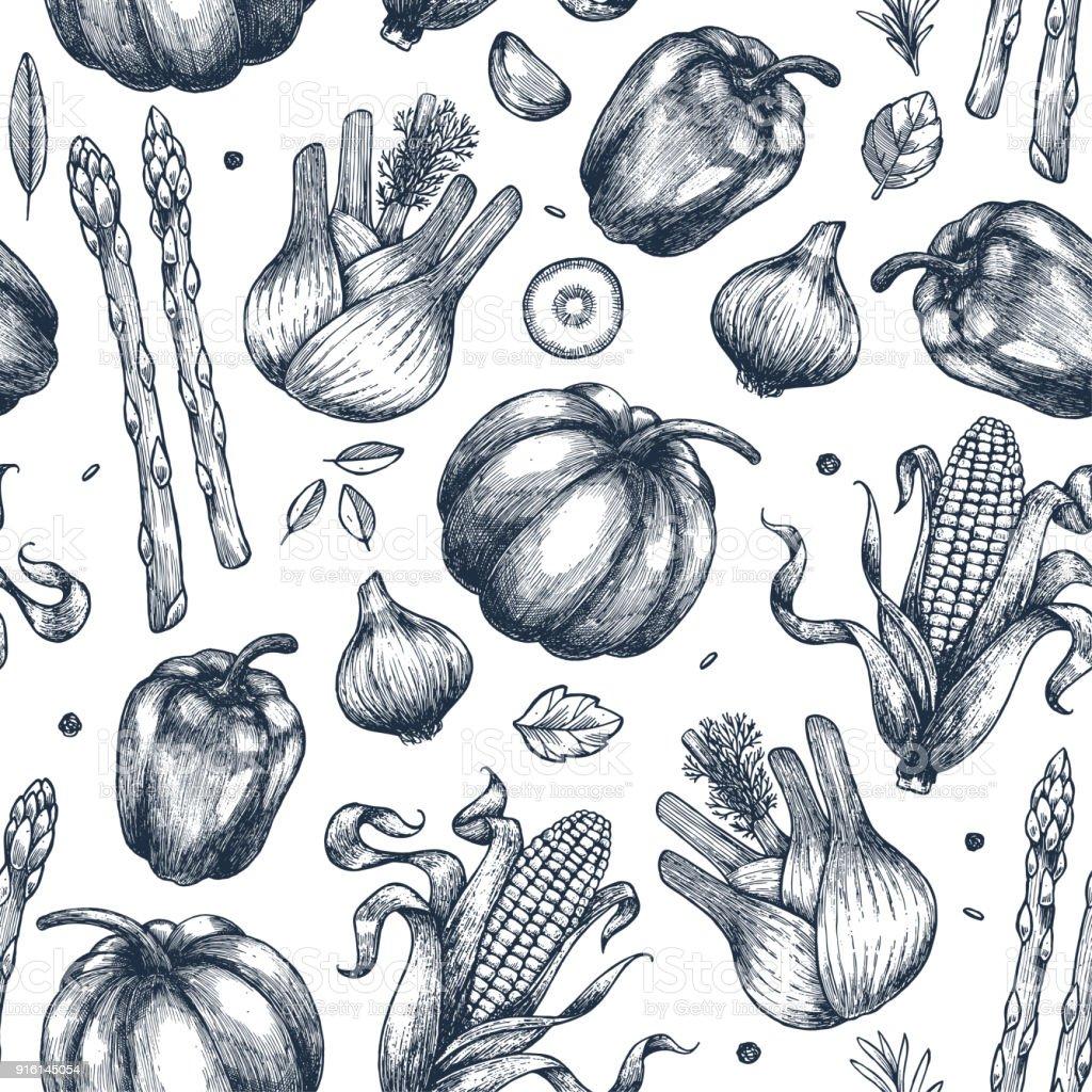 新鮮な野菜のシームレスなパターン手書きヴィンテージ野菜ライン アート