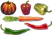 Fresh Vegetables, all elements are in separate layers and grouped.created as very artistic painterly style. Please visit my portfolio for more options. http://i1136.photobucket.com/albums/n483/Nagendra_art/veg.jpg?t=1291448607