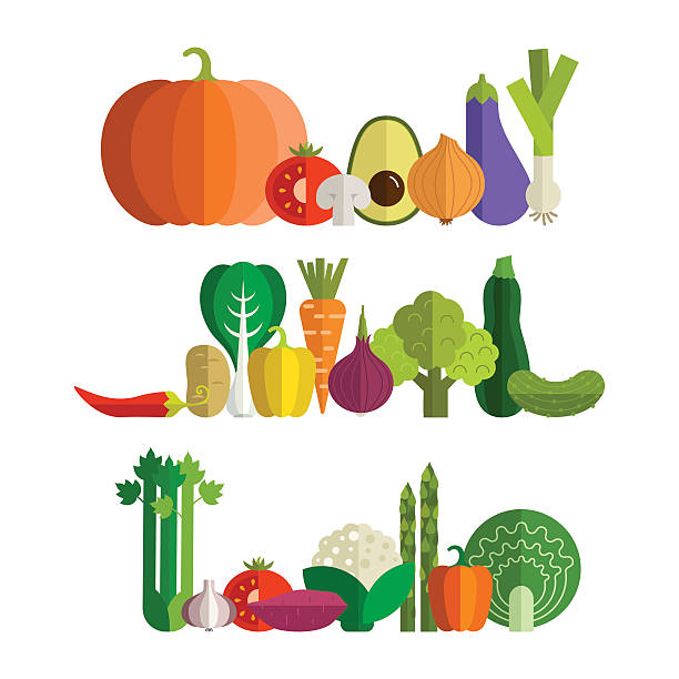 Fresh Vegetables Set of fresh healthy vegetables made in flat style - each one is isolated for easy use. Healthy lifestyle or diet vector design element. Organic farm illustration. scallion stock illustrations