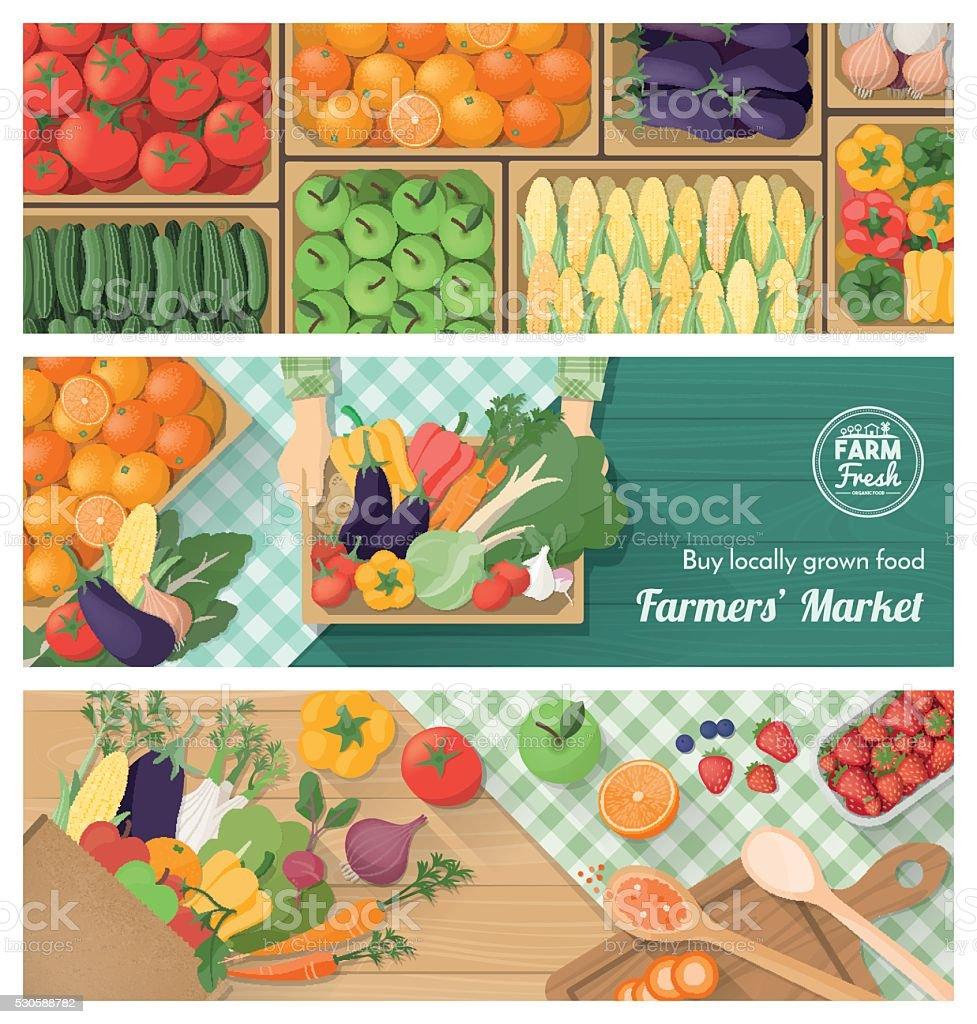 Fresh vegetables vector art illustration