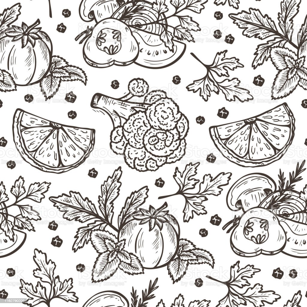 Fresh Vegetables Vector Seamless pattern. Hand drawn Sketch...