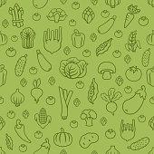 Fresh vegetables. Seamless Pattern