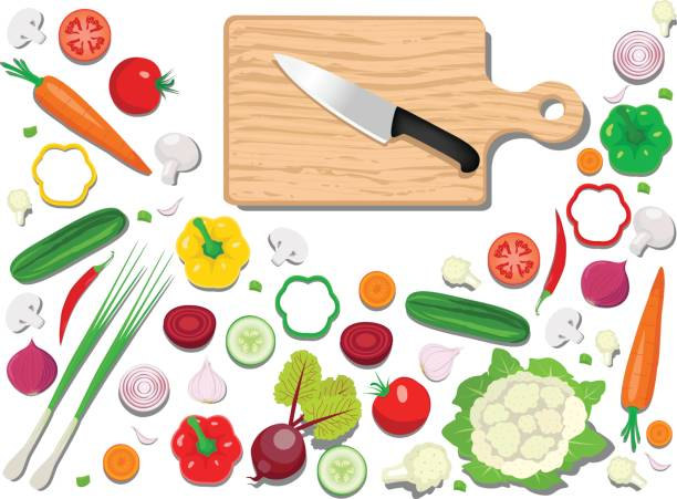 Fresh Vegetables With Cutting Board Fresh Vegetables With Cutting Board in this file flat color and gradiation color used,clipping mask yes, all elements separate grouped and easy to edit for similar images visit my portfolio cutting board stock illustrations