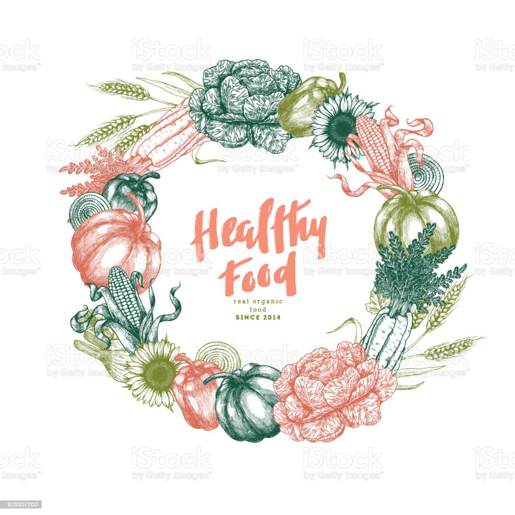 新鮮な野菜の花輪のデザイン テンプレートです手書きヴィンテージ野菜