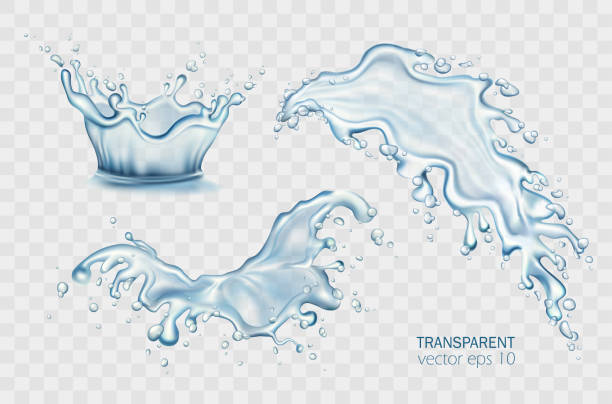 świeża woda wylewająca izolowany zestaw ilustracji wektorowych. korona rozpryskiwanie na jasnym przezroczystym tle. realistyczne plamy, krople wody, niebieskie fale płynne. soda, napój bezalkoholowy, koktajl, balsam promocyjny. - spray stock illustrations